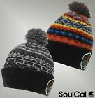 Mens Branded SoulCal Fold Over Trim Pompom Aztec Knit Hat Winter Accessories