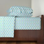 Balloons Tiny Kawaii Cute Sky Clouds Cotton Sateen Sheet Set by Roostery