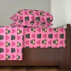 Dog Pug Dogs Hearts Love Pink Valentines Cotton Sateen Sheet Set by Roostery