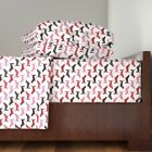 Valentines Bassets Hearts Basset Hound Dog Cotton Sateen Sheet Set by Roostery