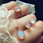 Women Fashion Jewelry Set Colorful Oval Opal Stud Earrings Ring Band Necklace