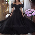 Vintage 1950s' Black Ball Gown Evening Dresses Off the Shoulder Prom Party Gown