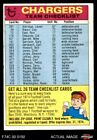 1974 Topps  Checklist San Diego Chargers Team VG/EX $2.4 USD on eBay