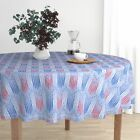 Round Tablecloth July 4 Independence Patriotic Red White And Blue Cotton Sateen