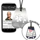 Medical Identity Necklace Brushed Steel Metal Effect PVC Dog Tag Emergency ID