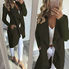 Womens Long Sleeve Waterfall Cardigan Jacket Tops Trench Coat Outwear Overcoat