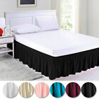 "Queen King Twin Full Bed Skirt Ruffle Elastic Bedspread Corners Wrap w/ 15"" Drop image"