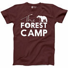 Forest Camping Shirt Black Bear Funny Happy Camper Mountain Adventure Tee S-3XL