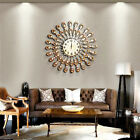 Luxury Modern 3D Art Large Wall Clock Crystal Metal Round Home Decor AU Stock
