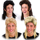 80s Mullet Wig Mens Fancy Dress 1980s Wham Rock Star Adults Costume Accessory