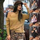 Womens Ladies Knitted Choker Neck Cut Shoulder Cable Knitted Jumper Top Sweater