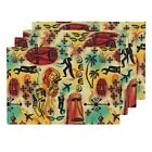 Cloth Placemats International Exotic James Bond Red Yellow Orange Set of 4 $54.0 USD on eBay