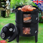 3 in 1 Steel BBQ Charcoal Grill Barbecue Smoker Garden Party Outdoor Camping