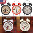 Retro Alarm Clock Round Number Double Bell Table Digital LED Backlight Clock USA