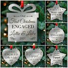 PERSONALISED First Christmas ENGAGED Couple Xmas Tree Decorations Baubles Gifts
