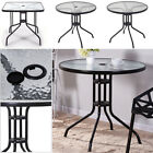 80/60CM Round Square Tables Coffee Tea End Side Table Tempered Glass Top Garden
