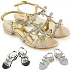 Womens Flat Strappy Sandals Diamante Bow Ladies Party Holiday Sparkly Heel Shoes