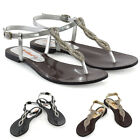 Womens Diamante Flat T-Bar Singback Sandals Ladies Strappy Holiday Shoes Size