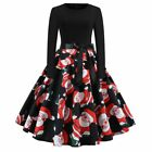 Womens Vintage Christmas Print Swing Dress Ladies Long Sleeve Party Skater Dress