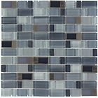 Grey Blue Glass Stainless Steel Cut Mosaic Wall Tile
