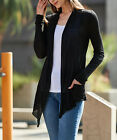 Womens Rayon Jersey Open Front Draped Cardigan Top Sweater Lightweight S M L