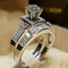 UK Women Silver Sterling Rhinestone Fashion Jewelry Wedding Engagement Ring Set