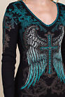 Vocal Crystals Angel Wings Cross Black Blue Whipstitch Ribbed Top S M