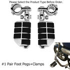 """1.25"""" Highway Pegs Footpegs Foot Rest / Mounting Clamp For Touring Honda Suzuki image"""