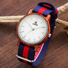 UWOOD Mens Wooden Watch Solid Zebra Wood Relogio Masculine Nylon Band Wood Watch image