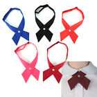 Внешний вид - Women Girl Party Wedding Bowties Fake Collar Solid Color Cross Knot Necktie DR