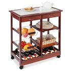 Rolling Wood Trolley Cart with Storage Drawers Baskets in Natural, Red, & White