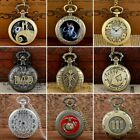 Retro Quartz Pocket Watch Antique Design Vintage Pendant Chain Necklace New Gift image
