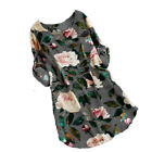 Womens Rolled Up Sleeve Floral Shirt Tunic Blouse Tops Summer Beach Mini Dress