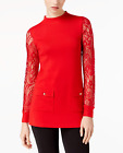 INC International Concepts Lace-Sleeve Sweater Tunic Real Red