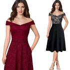 Womens Off Shoulder Lace Dobby Fabric Pockets Cocktail Party Skater A-Line Dress