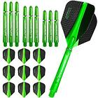 9 Harrows Retina Flights + 9 Supergrip Shaft Dart Flights verschiedene Farben