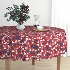 Round Tablecloth Usa Patriotic 4Th Of July America Map Vote Cotton Sateen