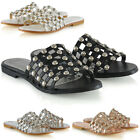 Womens Studded Flat Slider Cage Ladies Summer Holiday Slip On Sandals Shoes