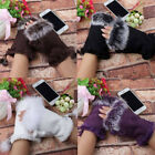 Women Faux Rabbit Fur Wrist Fingerless Hand Winter Gloves Warmer Touch Screen L for sale  Shipping to United States
