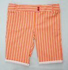 Girls Ladies Size 18 - 24 Candy Stripe Fitted Waist Knee Length Shorts 2 Pocket