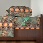 Beer Art Deco Hops And Barley Copper 100% Cotton Sateen Sheet Set by Roostery