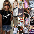 Women Minnie Mouse Letter T-shirts Short Sleeve Printed Cotton Blouse Tops Shirt