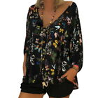 Women Lady Butterfly Printed Cropped Sleeve T Shirt V-Neck Long Sleeve Tops GW