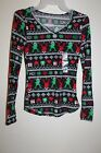 NEW Junior's No Boundaries Brushed V-Neck Holiday Tee Reindeer Print