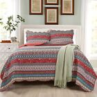 Chezmoi Collection 3-Piece Orange Boho Chic Floral Bohemian Cotton Quilt Set image