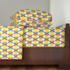 Ogee Rainbow Damask Baubles Retro Holiday Cotton Sateen Sheet Set by Roostery