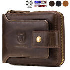 Mens Womens Genuine Leather Wallet RFID Blocking Zipper Bifold Credit Card Purse image
