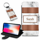 Marble Personalised PU Leather Wallet Case & Keyring For Various Mobiles - 36