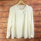 New J Jill Beige Long Sleeves Lace Trim Pintucked Cream Top - All Sizes