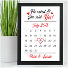 Personalised He Asked She Said Yes Calendar Date Engagement Gifts Fiance Couples